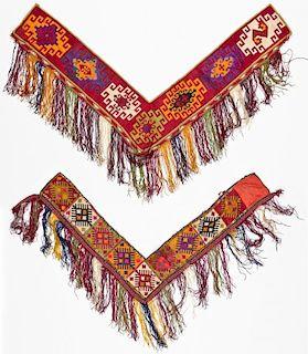 2 Uzbek Silk Cross-Stitch Hangings (Segusha)
