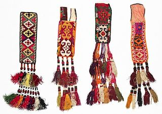 4 Uzbek Silk Cross-Stitch Embroidered Trappings