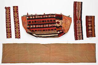 6 Misc. Antique Kilim and Silk Textiles
