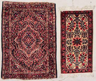 2 Small Hamadan and Sarouk Rugs