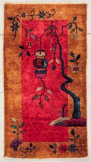 "Art Deco Chinese Rug: 2' x 3'9"" (61 x 115 cm)"