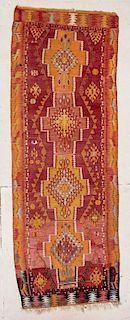 """Turkish Kilim: 4'2"""" x 11'10"""" (127 x 361 cm)"""