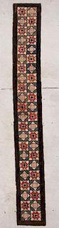 "A Vintage American Hooked Rug: 1'6"" x 11'6"" (46 x 351 cm)"