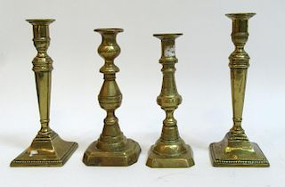 Four Antique 19th Century Spun Brass Candlesticks