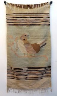 Native American Rug With Bird Images.