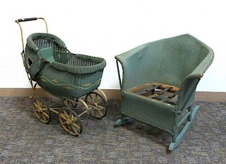 Antique Wicker Childs Rocker And Doll Carriage