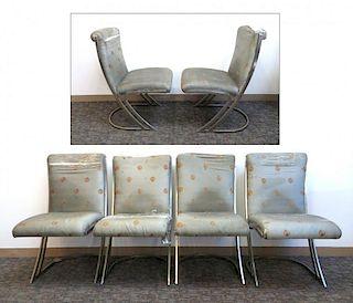 Four Modern Chrome Side Chairs