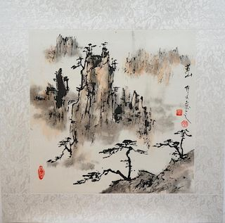 Chinese Watercolor Of A Mountainscape