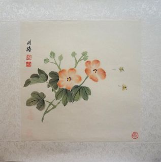 Chinese Watercolor Of Bees Among Flowers