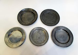 Five Pewter Plates.
