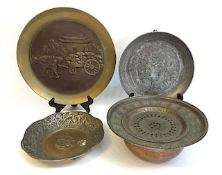 Five Plates/Bowl In Copper And Metal