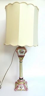 French Porcelain Lamp With Shade