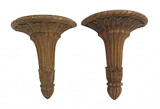 Pair Of Wooden Carved Wall Brackets