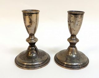Pair Of Weighted Silver Candlesticks