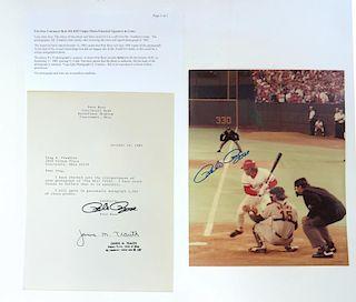 Unique Autographed Pete Rose Photograph & Letter