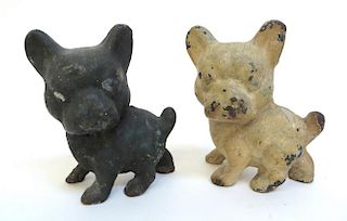 Two Cast Iron Puppy Doorstops