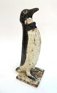 Painted Antique Cast Iron Penguin