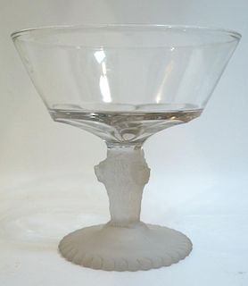 Glass Compote With Lion Head Base