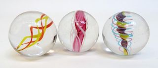 Three Antique Glass Marbles