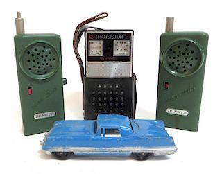 Three Radios With Toy Car