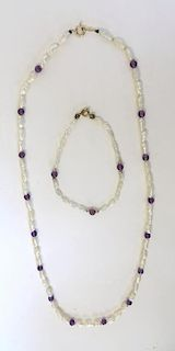 Pearl & Amethyst Necklace & Bracelet
