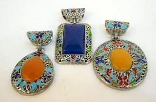 Three Enamel Pendants