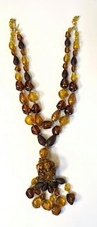 "Bakelite ""Faux Amber"" Necklace"