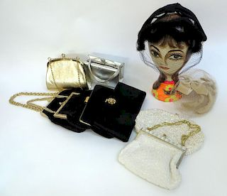 Two Vintage Hats And Eight Handbags