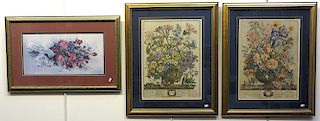Framed Vintage Calendar Flower Prints And Glynda Turkey Print