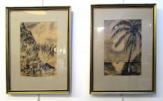 Pair Of Tropical Scenes, Framed.