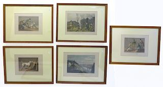 Five Framed Vintage Hunting Themed Prints