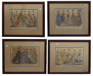 Four Framed Godey's Fashion Prints