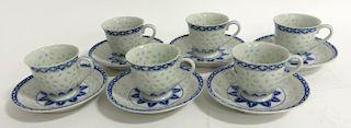 Set Of Six Rare Tea Cups