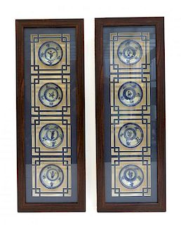 Pair Of  Shadowbox Framed Soy Dishes