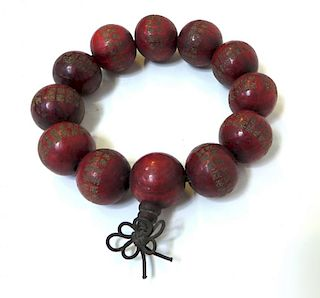 Red Bead Mala Bracelet With Characters