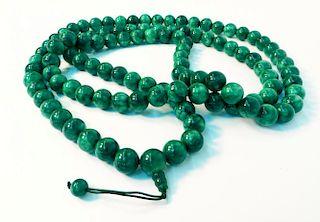 Green Jade Bead Mala Necklace