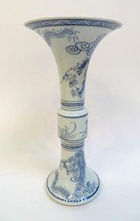 Blue & White Trumpet Vase