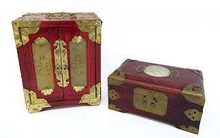 Two Jewelry Boxes With Jade Inserts