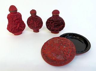 Four Chinese Cinnabar Lacquer Items