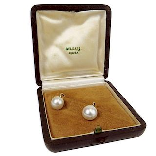 Circa 1974 Bulgari White Pearl and 14 Karat White Gold Earrings in Original Bulgari Box.