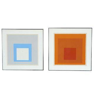 Josef Albers, (2) silkscreen prints