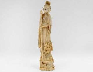 CARVED IVORY FIGURE OF A SAGE