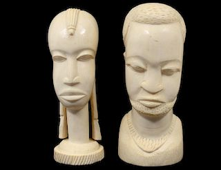 AFRICAN TRIBAL IVORY HEAD OF A MAN AND WOMAN