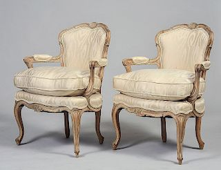 PAIR OF LOUIS XV STYLE BLEECHED FAUTEUILS