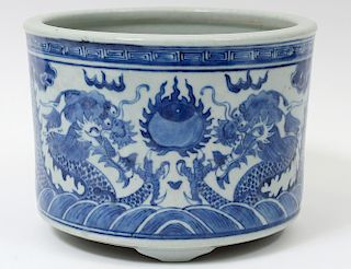 BLUE AND WHITE PORCELAIN JARDINIERE