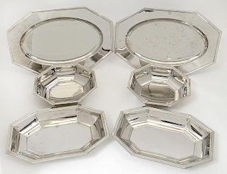 SET OF SIX JEAN DOUZON SILVER PLATED DISHES
