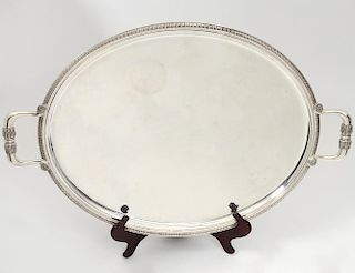 REGENCY STYLE CHRISTOFLE SILVER PLATED SERVING TRAY