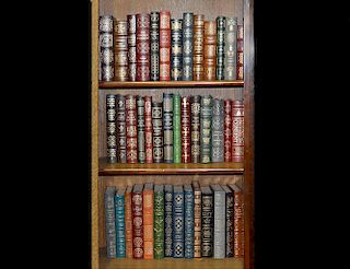 GRP OF 44 TOOLED LEATHER BOUND GOLD EDGE BOOKS
