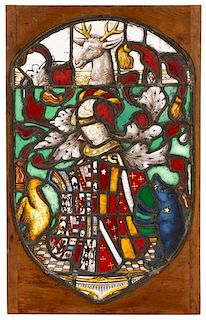 Armorial Stained Glass Panel, After Fawsley Hall