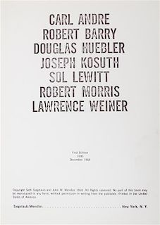 * (LEWITT, SOL, et al.) SIEGELAUB AND WENDLER, pubs. [Xerox Book]. NY, 1968.